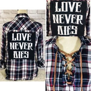 Tops - Handmade LOVE NEVER DIES Flannel Lace-Up Band Tee
